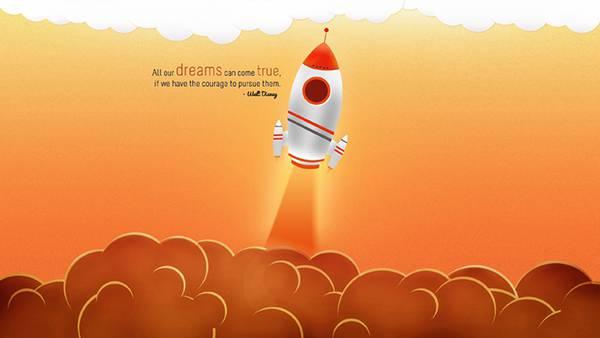 06.巨大な煙を吐きながら飛ぶロケットを描いた可愛いイラスト壁紙画像