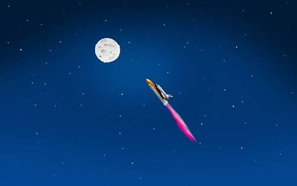 07.月に向かって宇宙を進むロケットを描いた可愛いイラスト壁紙画像