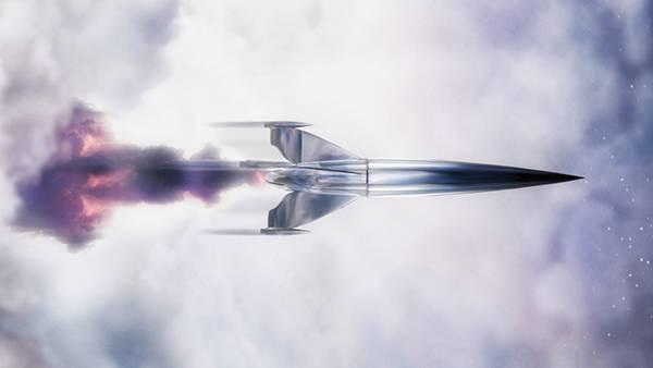 08.メタリックな質感とリアルな炎がかっこいいロケットのイラスト壁紙画像
