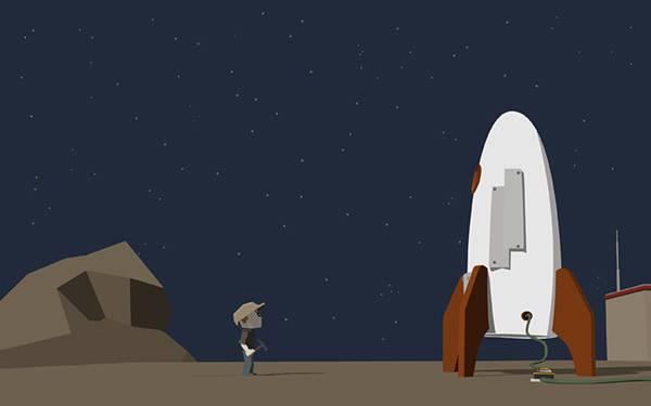 09.ロケットと整備士をデフォルメして描いた可愛いイラスト壁紙画像
