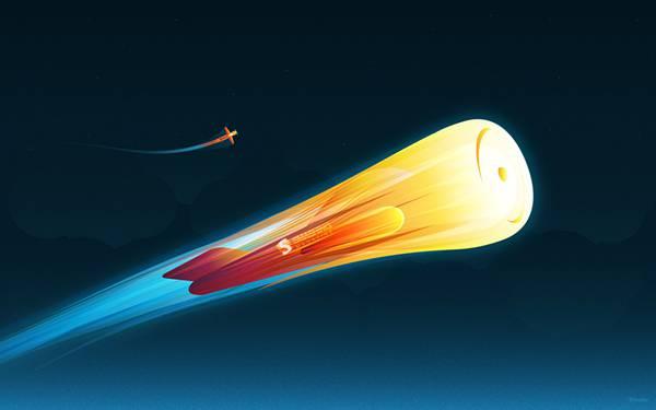 11.真っ赤に燃えながら空を進むロケットの可愛いイラスト壁紙画像