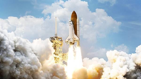 煙とスペースシャトル画像
