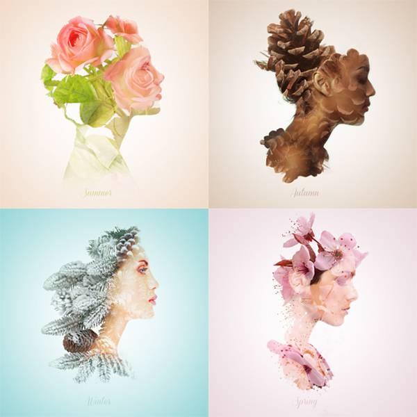 可憐で繊細!女性の横顔と植物を合成して四季を表現したグラフィックデザイン - 01
