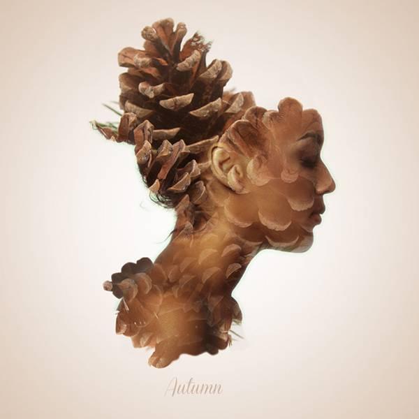 可憐で繊細!女性の横顔と植物を合成して四季を表現したグラフィックデザイン - 03