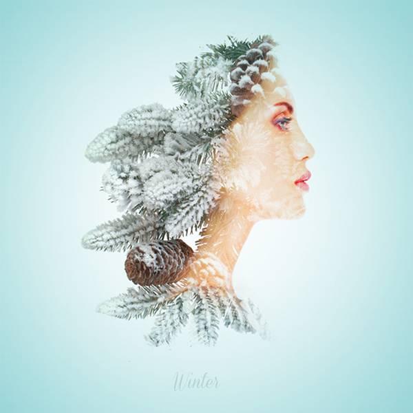 可憐で繊細!女性の横顔と植物を合成して四季を表現したグラフィックデザイン - 04