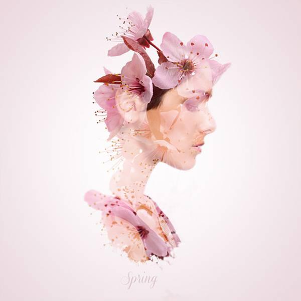 可憐で繊細!女性の横顔と植物を合成して四季を表現したグラフィックデザイン - 05