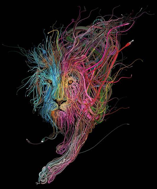 カラフルなケーブルが絡み合って1つの形に!複雑過ぎるイラストレーション作品 - 01