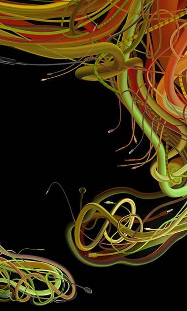 カラフルなケーブルが絡み合って1つの形に!複雑過ぎるイラストレーション作品 - 06
