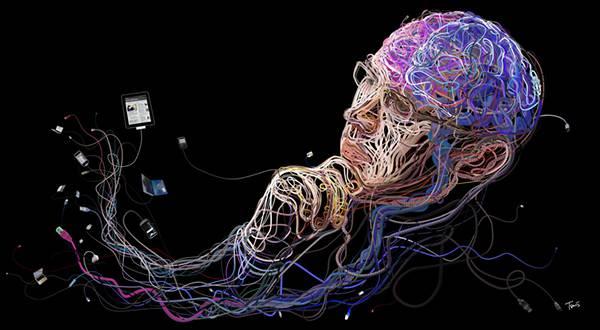 カラフルなケーブルが絡み合って1つの形に!複雑過ぎるイラストレーション作品 - 08