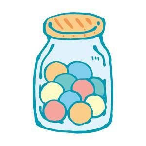 瓶入りキャンディー の無料イラスト