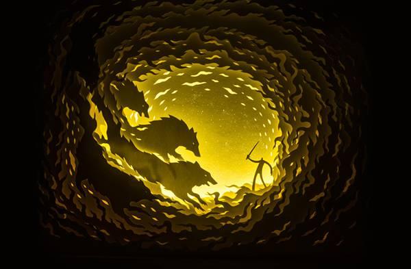 幾層にも切り出した紙に光を当てて作り出す、幻想的なペーパーアート作品 - 01