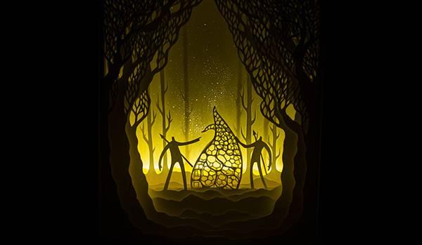 幾層にも切り出した紙に光を当てて作り出す、幻想的なペーパーアート作品 - 02