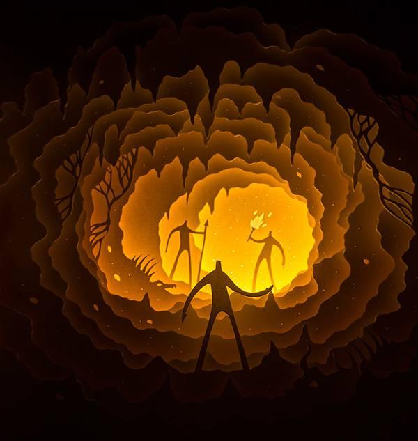 幾層にも切り出した紙に光を当てて作り出す、幻想的なペーパーアート作品 - 03