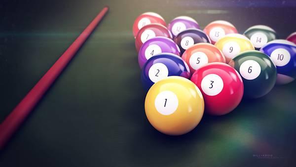 02.ビリヤードのボールとキューを並べて撮影した綺麗な写真壁紙画像