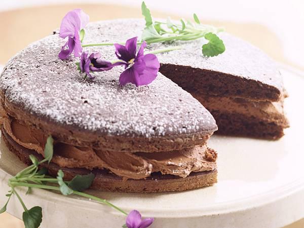 12.チョコクリームをはさんだケーキを撮影したおしゃれな写真壁紙画像