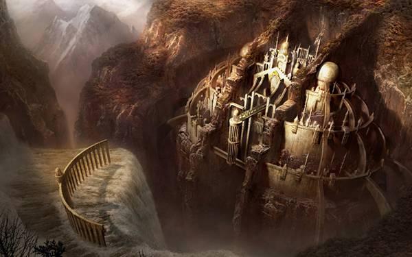 01.岩壁に気づかれたお城を描いたかっこいいイラスト壁紙画像