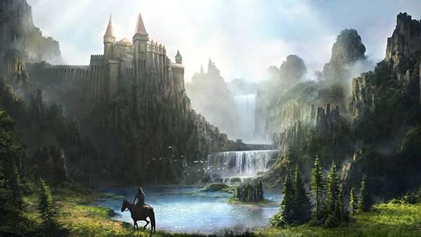 02.巨大なお城と滝のある風景を描いた美しいイラスト壁紙画像