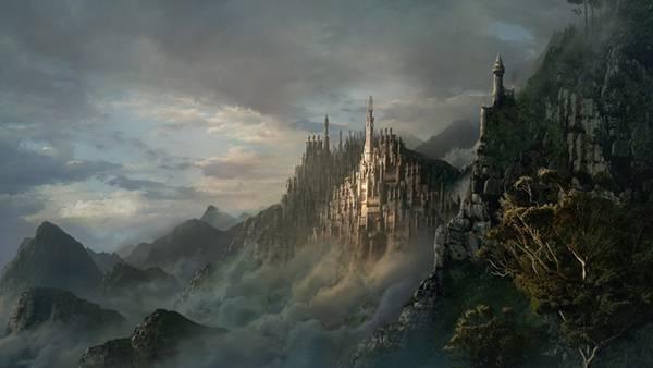 03.山の中のお城を描いたかっこいいイラスト壁紙画像