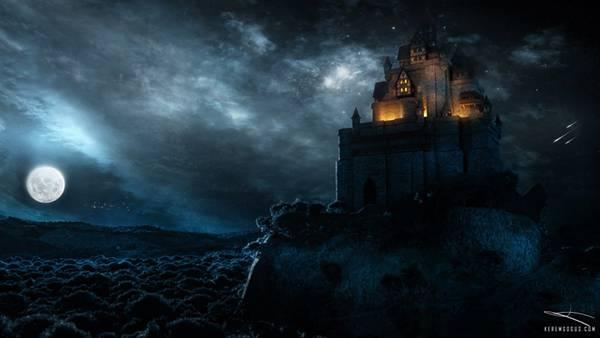 04.夜のお城を描いた美しいイラスト壁紙画像