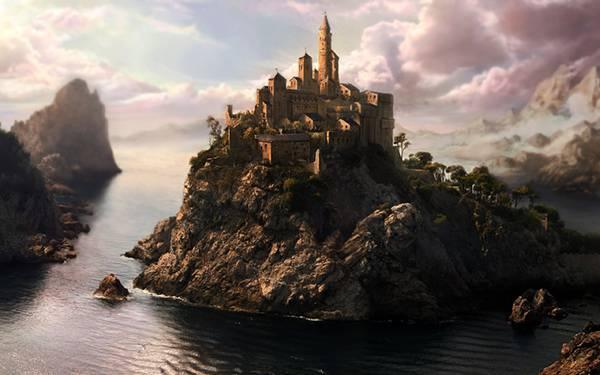05.ゴツゴツした岩の上に気づかれたお城のかっこいいイラスト壁紙画像