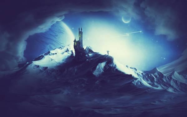 06.夜のお城と分厚い雲のファンタジーなイラスト壁紙画像