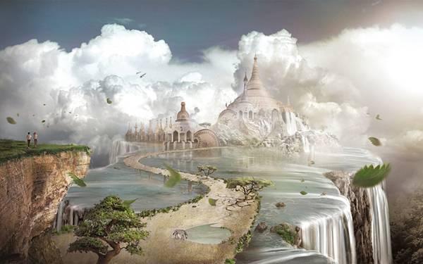 07.滝の中に続く道とお城の美しいイラスト壁紙画像