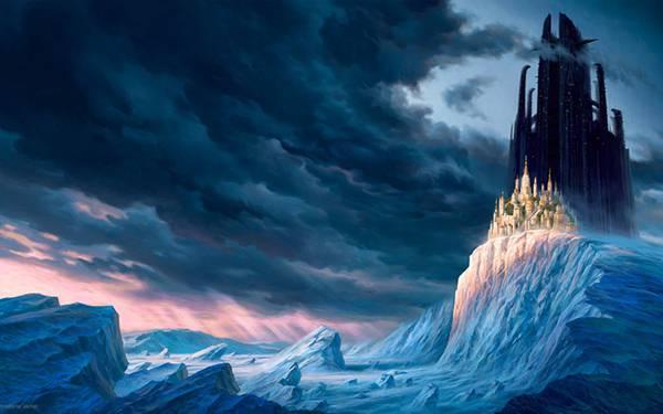 08.小高い岩山の上のお城を描いた綺麗なイラスト壁紙画像