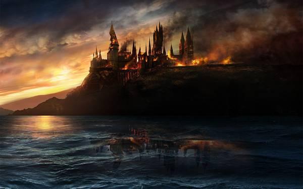 09.炎上するお城を描いたかっこいいイラスト壁紙画像