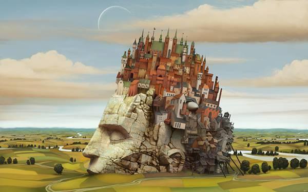 10.人の頭の形の上に築かれたお城のシュールなイラスト壁紙画像