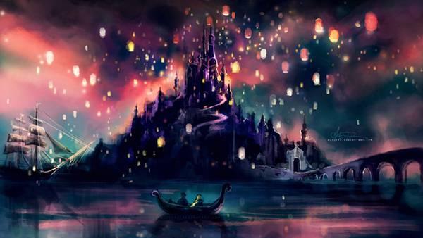12.お城と光と船を描いたファンタジーなイラスト壁紙画像