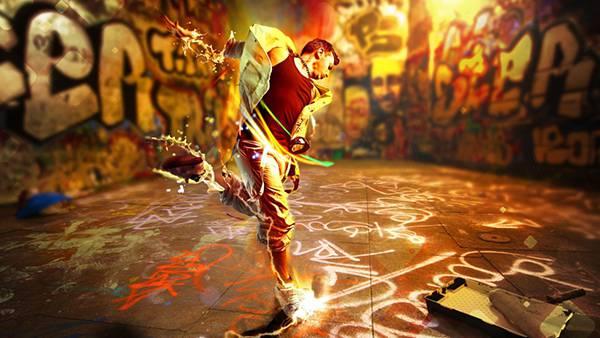 02.ダンスをする男性に水しぶきエフェクトをつけたカッコイイ写真壁紙画像