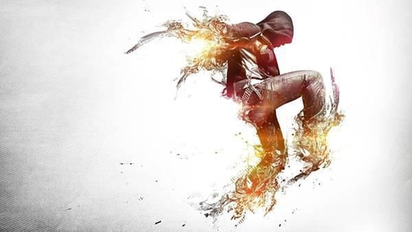 07.ダンサーの手足を光のエフェクトで加工した写真壁紙画像