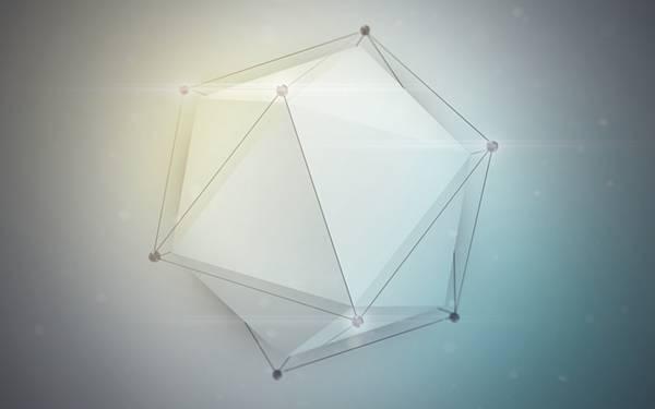 04.白い多面体をデザインしたクールなデジタルアートワーク壁紙画像