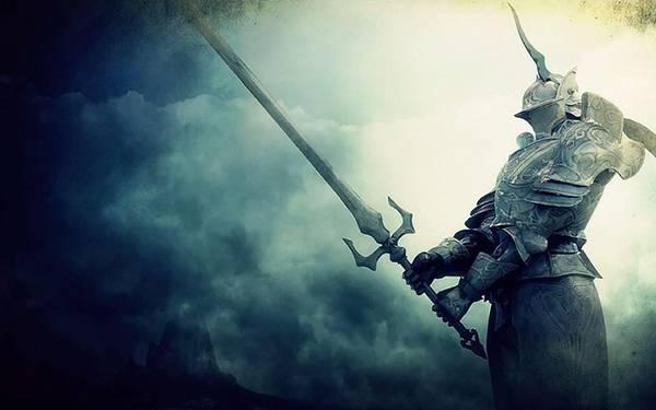 03.両腕で巨大な剣を構えた騎士の美しいイラスト壁紙画像