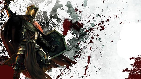 04.盾を持って剣を振りかざす騎士のかっこいいイラスト壁紙画像