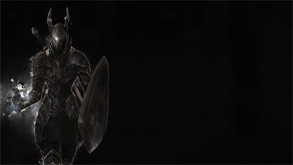 05.悪魔のようなデザインの鎧を着た黒騎士のかっこいいイラスト壁紙画像