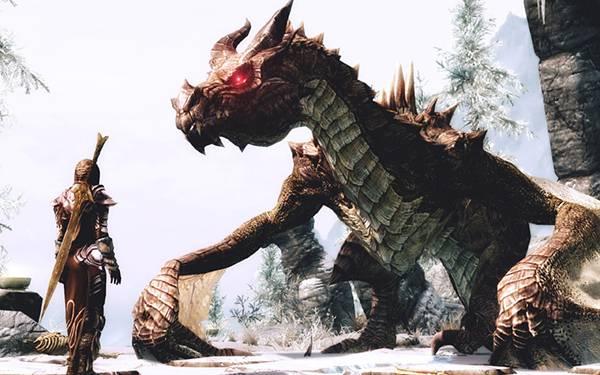 06.背中に剣を背負った騎士とドラゴンの高画質なイラスト壁紙画像