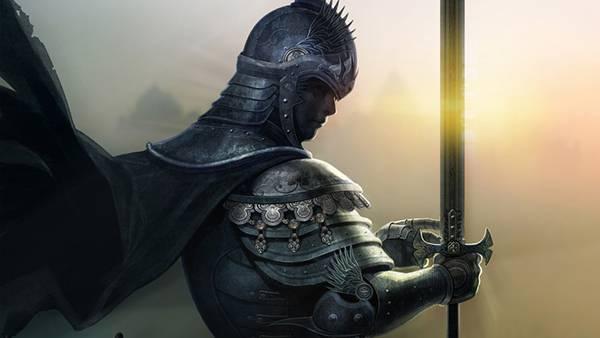 08.剣を構えた白騎士の横顔をリアルに描いたイラスト壁紙画像