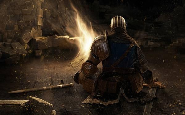 09.焚き火の前で休む騎士の後ろ姿を描いたイラスト壁紙画像