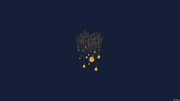 01.電球とビル群をデザインしたおしゃれなイラスト壁紙画像