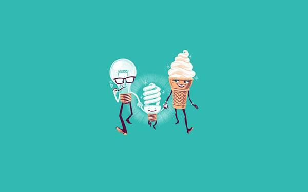 02.電球とソフトクリームの子供のスパイラル蛍光灯を描いたイラスト壁紙