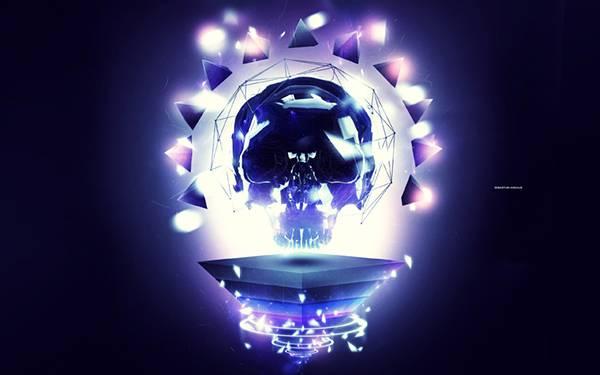 03.きらびやかに光るガイコツの電球のかっこいいイラスト壁紙画像