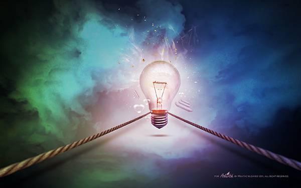 04.カラフルな背景に電球をデザインした綺麗なイラスト壁紙画像