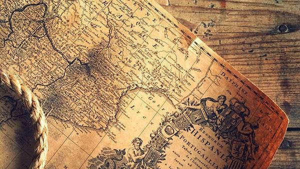04.アンティークな地図とロープのオシャレな写真壁紙画像