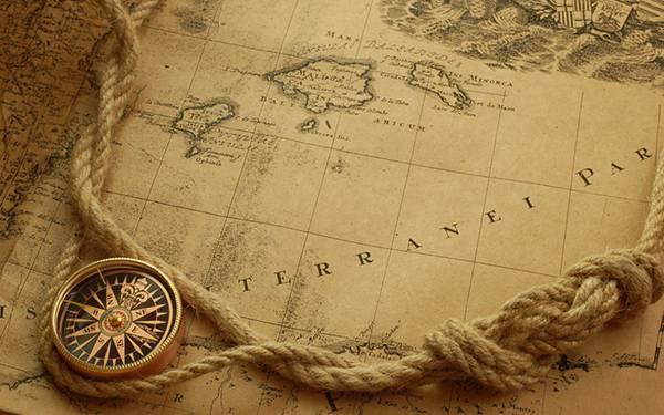 07.アンティークな地図とコンパスとロープのおしゃれな写真壁紙画像