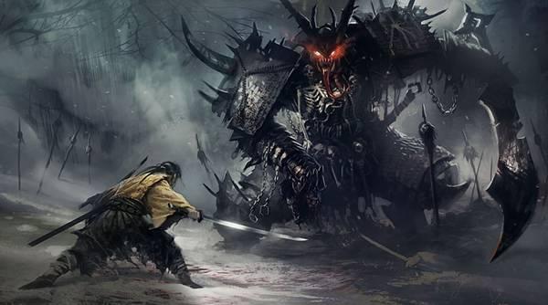 01.鎧を着た巨大な鬼と戦う侍を描いたかっこいいイラスト壁紙画像