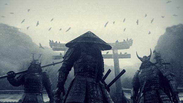 02.鳥居の前の3人の武者を描いたかっこいいイラスト壁紙画像