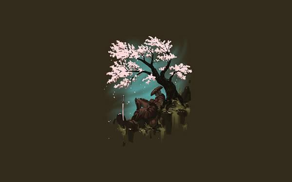03.桜の木の下で休む侍を描いた綺麗なイラスト壁紙画像