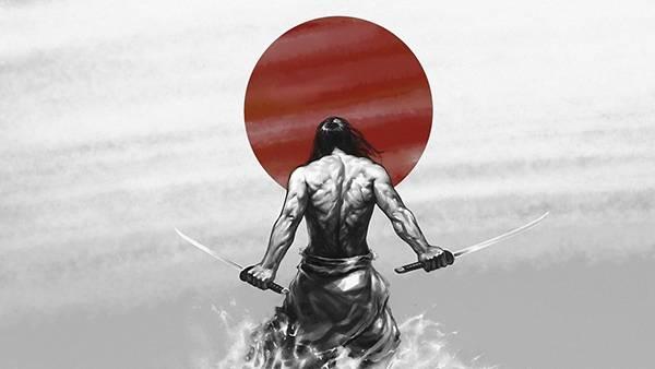 06.日の丸と二刀流の侍を描いたかっこいいイラスト壁紙画像