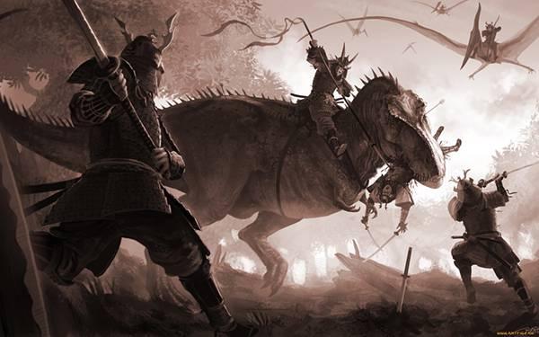 08.恐竜に乗って戦う武者達を描いたかっこいいイラスト壁紙画像